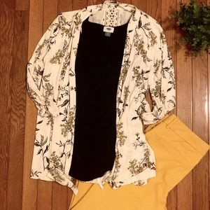 NWOT Maurices open front floral cardigan lace back